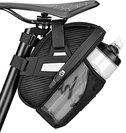 RockBros Bicycle Saddle Bag MTB Bike Waterproof Reflective Tail Bag Black 1.5L