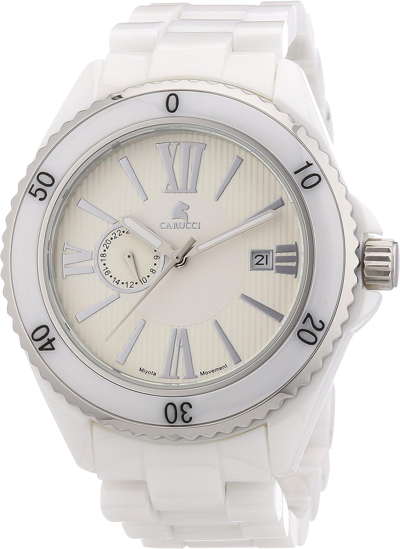 Carucci Watches Catania CA7112WH - Reloj analógico automático para Hombre, Correa de cerámica Color Blanco