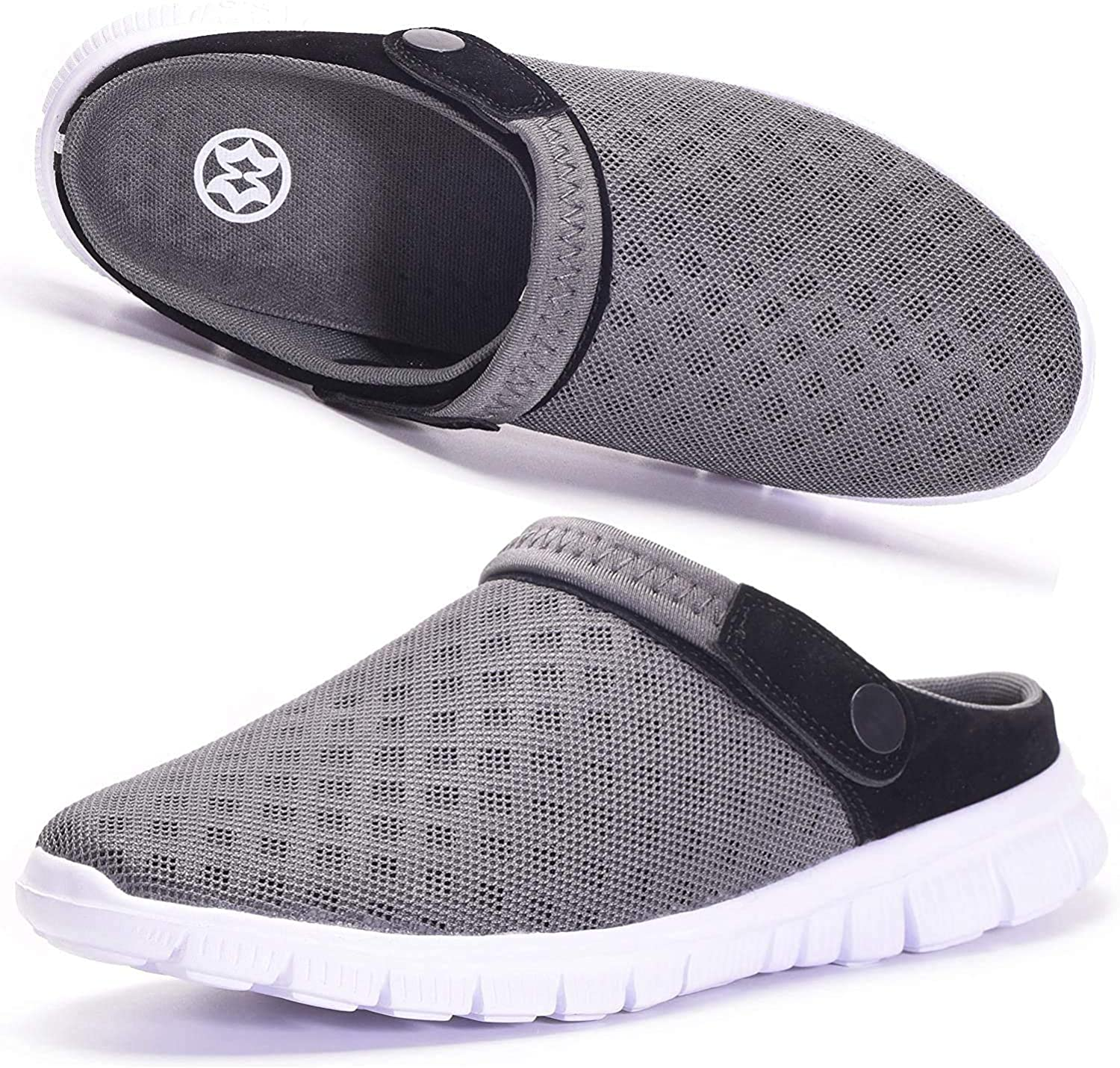 Hsyooes Mens Womens Mules & Clogs Garden Shoes Summer Breathable Mesh Slippers Non-Slip Outdoor Beach Sandals Unisex