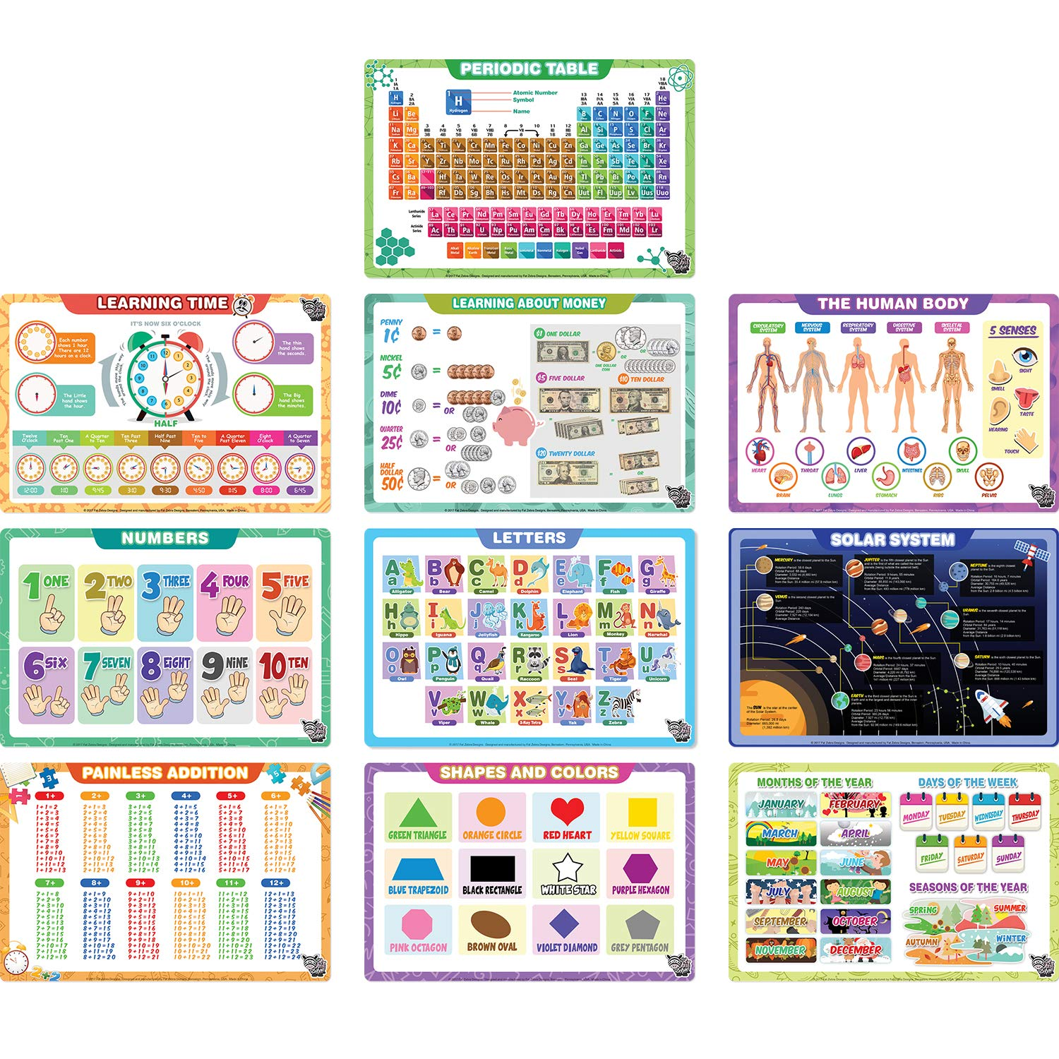 Educational Kids Placemats: Letters, Numbers, Shapes, Addition, Month/Days/Seasons, Human Body, Money, Solar System, Time, and Periodic Table - Easy Clean, Durable & Reusable Kids Table Mats (10 Pack) Fat Zebra Designs FZD-PM-03
