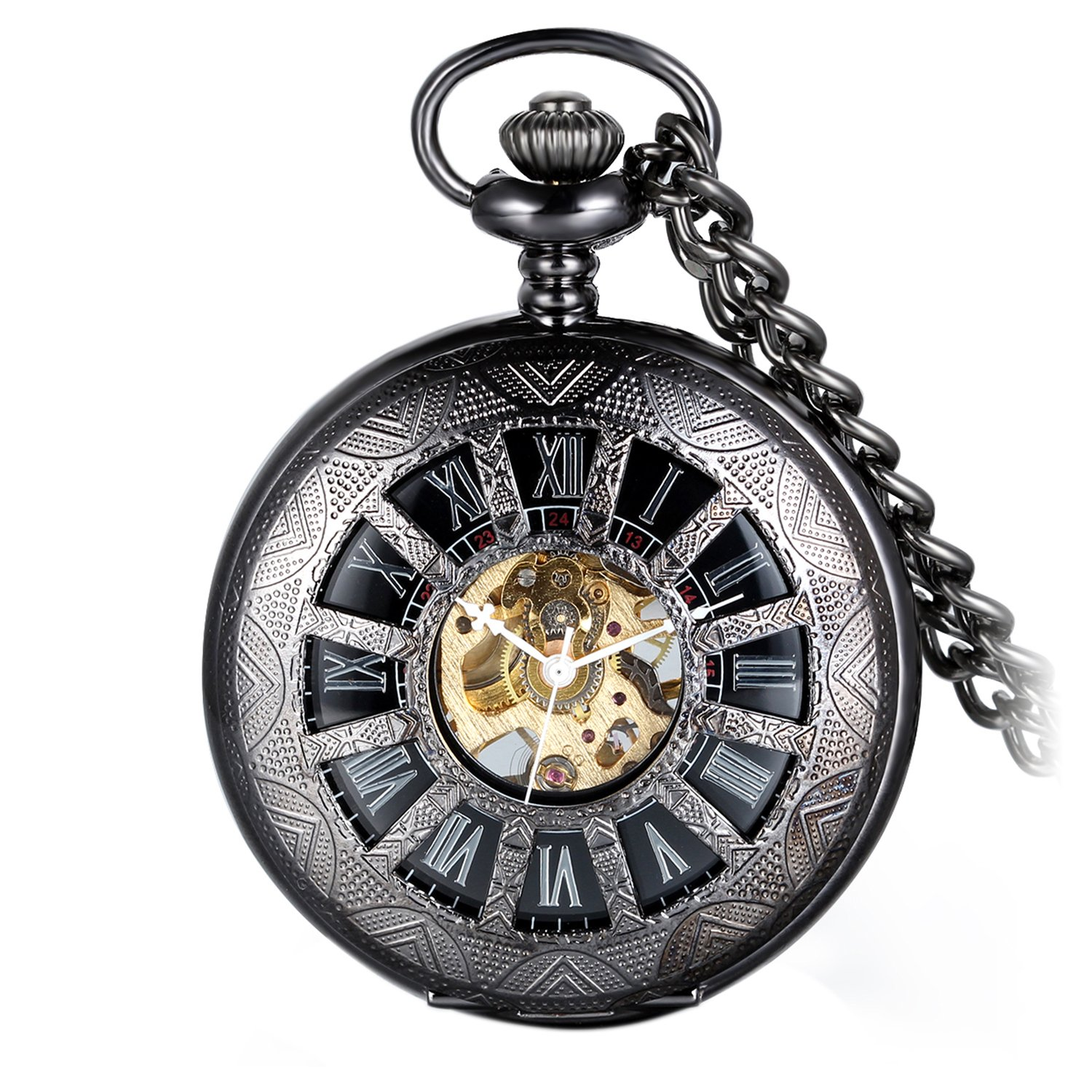 Avaner Retro Steampunk Half Hunter Black Hollow Skeleton Hand Wind Mechanical Roman Numeral Pocket Watch with Chain Gift for Men