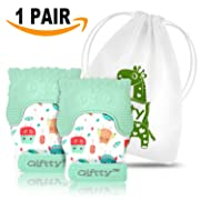 Two Baby Teething Mittens by Giftty, Soothing Teether Mitt & Teething Pain Relief Toy, Prevent Scratches Glove, Cute Animal Owl Collection, Unisex for 0-9 Months Baby (2-Mittens, 1 Travel Bag, Mint)