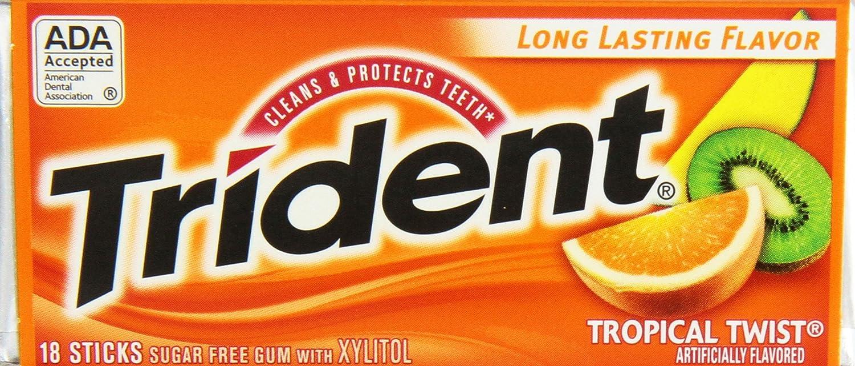 Trident Tropical Twist Sugar Free Gum, 14 Count