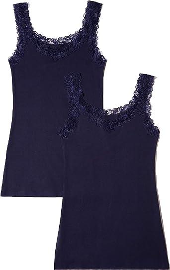 Marca Amazon - Iris & Lilly Camiseta de Tirantes de Algodón Mujer, Pack de 2: Amazon.es: Ropa y accesorios