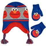 Sesame Street baby-boys Elmo Character Hat and Mittens Cold Weather Set Winter Accessory Set - multi - Age 2-4