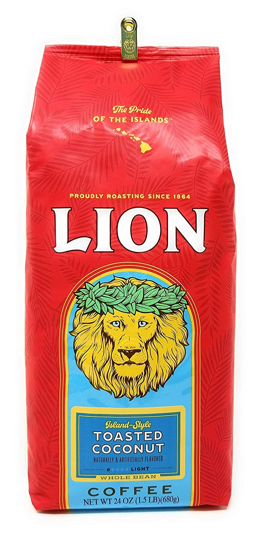 Lion Coffee TOASTED COCONUT, Whole Bean, LIGHT Roast, HUGE 24 Oz. 1.5 lb BARGAIN Bag with Bag Clip, Island-Style