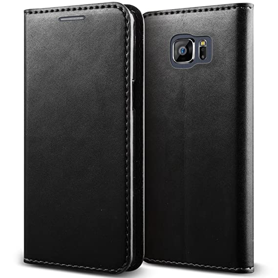 new arrival f954d 869eb Samsung Galaxy S6 Edge+ Case - Magnetic Black Genuine Leather Cover with  Card Slots Slim Leather Wallet Case for Samsung Galaxy S6 Edge+ Plus [Folio  ...