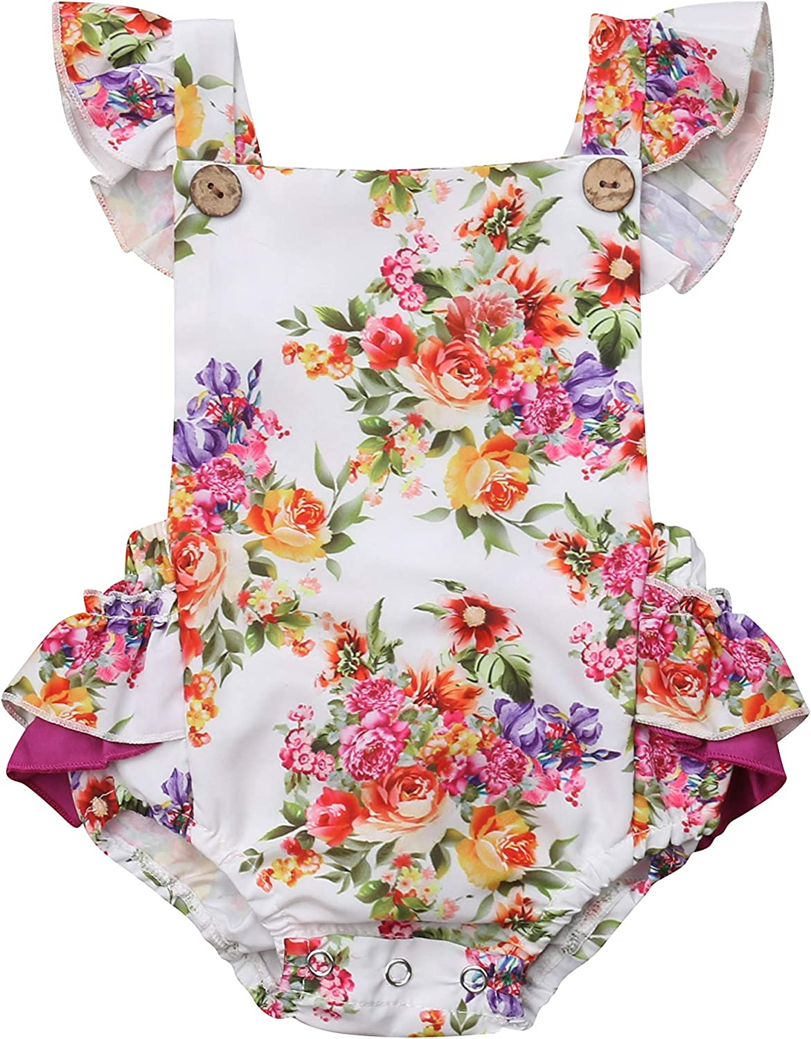 Newborn Baby Girl Clothes Sleeveless Ruffle Romper Top Pleated Bodysuit Jumpsuit Sunsuit Summer Outfits