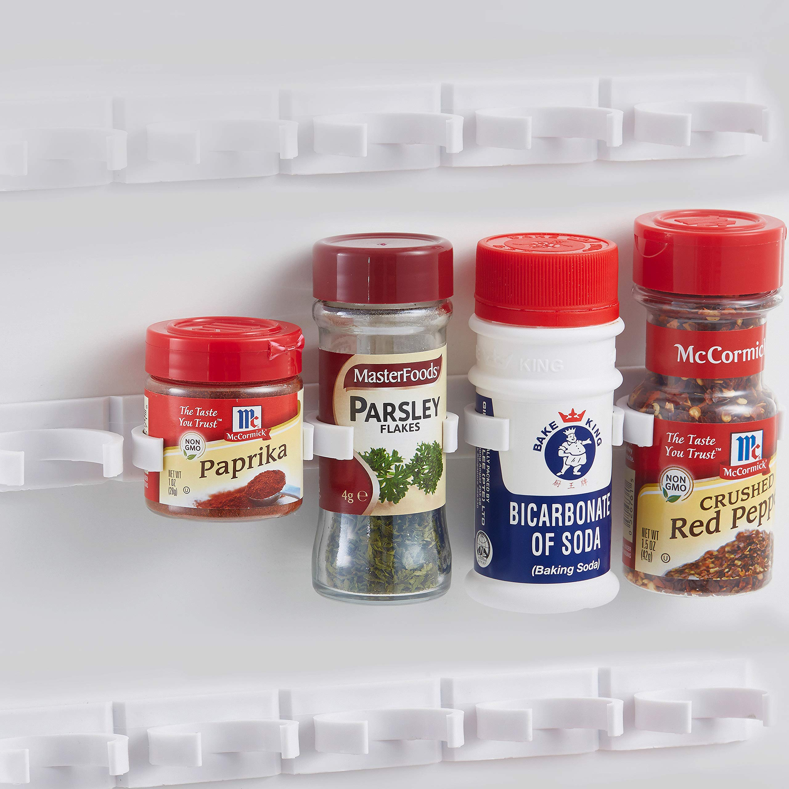 5 Pack, Extra Strength Adhesive Spice Clips- Bonus Stainless Steel Measuring Spoons - 5 Strips Holds 25 Glass/Plastic Herb and Spice Jars/Bottles. By Sunsella