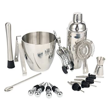 yaebrew - Juego de cubertería de acero inoxidable vino y Bar de cócteles Bar Kit incluye herramientas esenciales de Barware y cubo de hielo: Amazon.es: ...