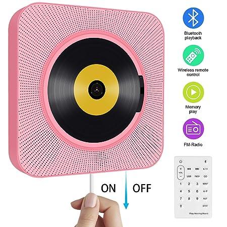 Tragbarer CD Player, wandmontierbar Bluetooth eingebaute HiFi-Lautsprecher für Kinder mit Fernbedienung, FM-Radio, USB mp3 Ko