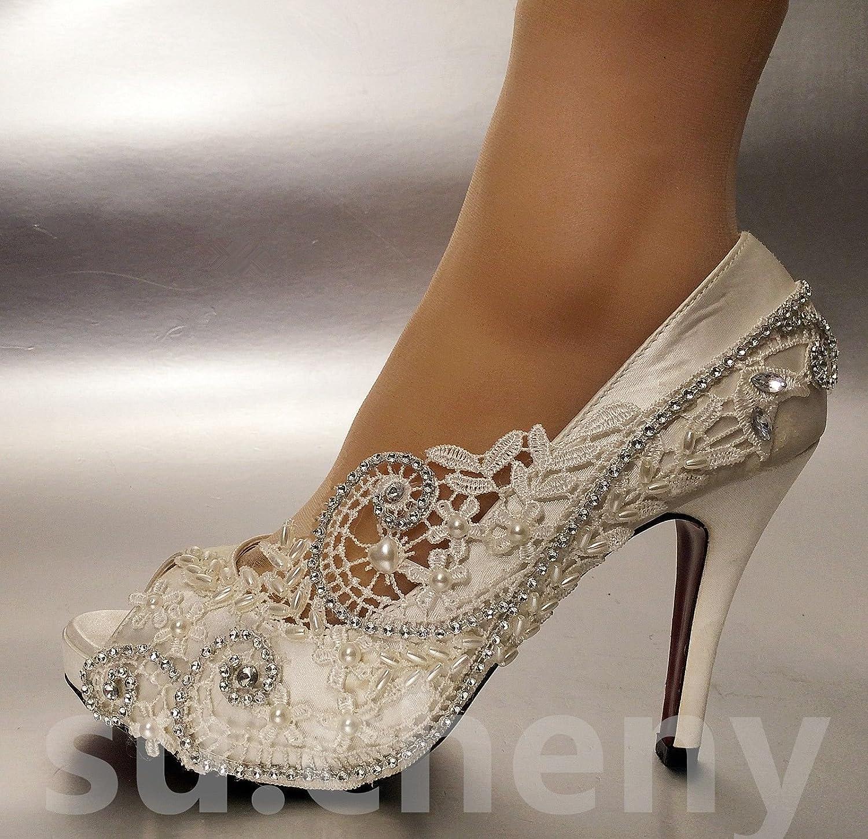 JINGXINSTORE JINGXINSTORE JINGXINSTORE Pearl Silk Lace Open Toe Kristall Hochzeit Schuhe Braut Größe 5-11 e9b5dd