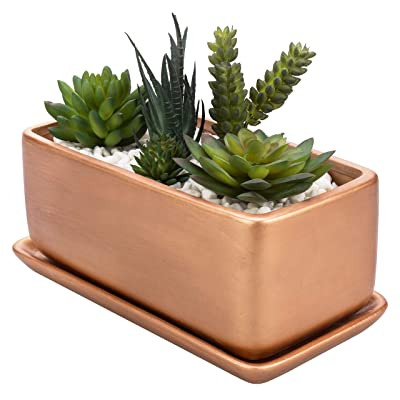 MyGift 10-Inch Rectangular Copper-Tone Ceramic Succulent Planter Pot/Window Box with Saucer : Garden & Outdoor