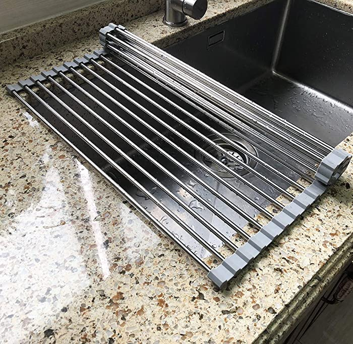 """17.7"""" x 11.5"""" Long Dish Drying Rack, Attom Tech Home Roll Up Dish Racks Multipurpose Foldable Stainless Steel Over Sink Kitchen Drainer Rack for Cups Fruits Vegetables"""