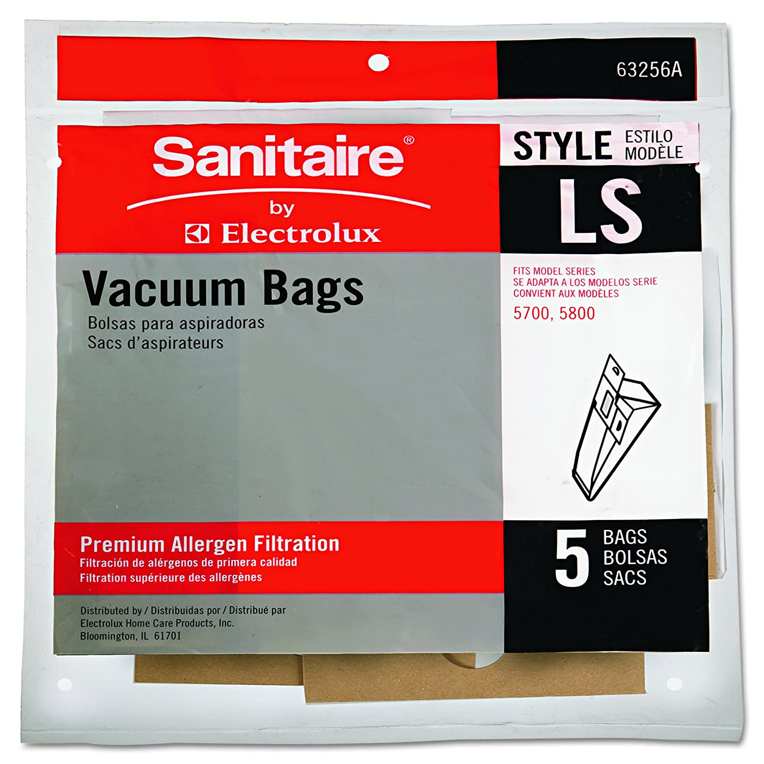 Eureka 63256A10 Commercial Upright Vacuum Cleaner Replacement Bags, Style LS, Pack of 5