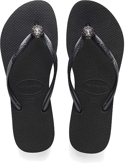 872dae452 Havaianas Black Metallic Grey Slim Crystal Poem Size 5 flip Flops   Amazon.co.uk  Shoes   Bags