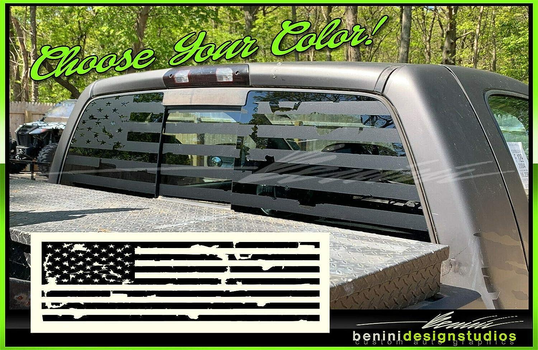 Truck Back Window Decals >> American Flag Pick Up Truck Back Window Decal Universal Frontier Sierra Raptor Matte Black