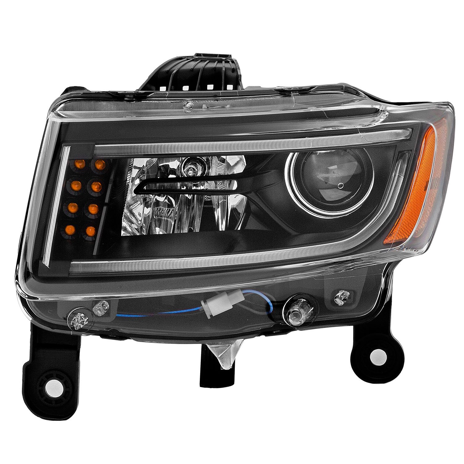 Sppc Black Projector Plank Style Headlights Assembly For 1995 Jeep Grand Cherokee Brake Wiring Pair Includes Driver Left And Passenger Right Side Replacement