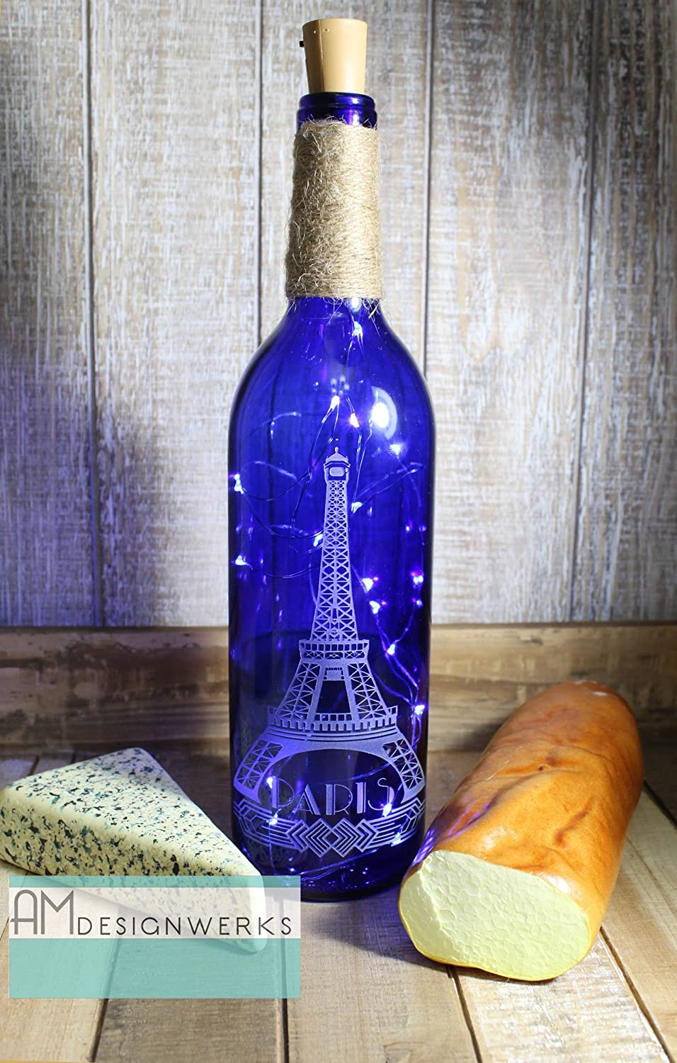 Fully Hand Etched Eiffel Tower Light Up Paris Cobalt Blue Wine Bottle