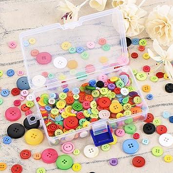 300 Piezas Botones de Resina de Colores Surtidos 2 y 4 Botones Redondos de Agujero de Artesanía con Caja de Almacenamiento de Plástico para Manualidades DIY ...