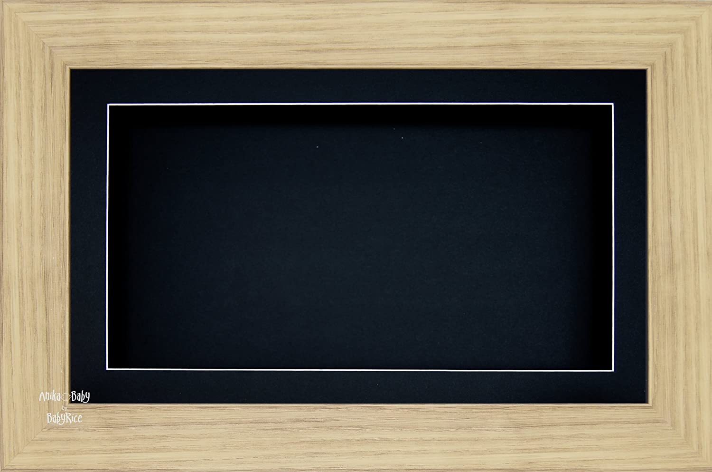 BabyRice groß 17 -8 x 33 cm-33 x 17 -8 cm Display Holz Box Rahmen in Eiche Effekt mit Schwarz Passepartout und Rückseite - Glas-