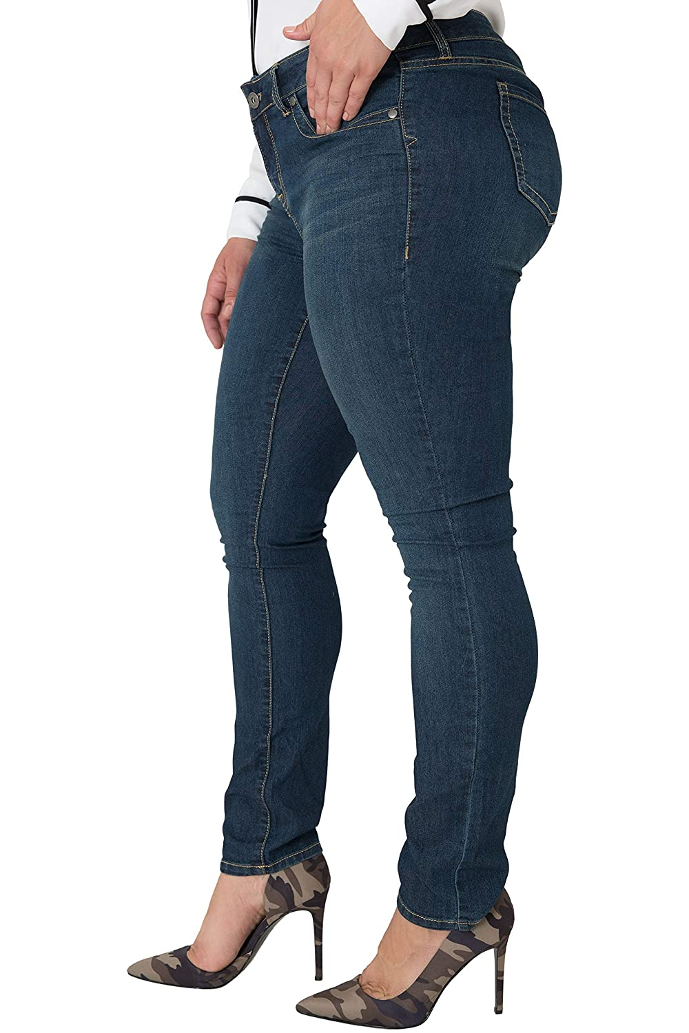 7210f781072 Miss Halladay Plus Size Women s Midrise Skinny Jeans Dark Sandblast Wash  Size 10 to 30 at Amazon Women s Jeans store