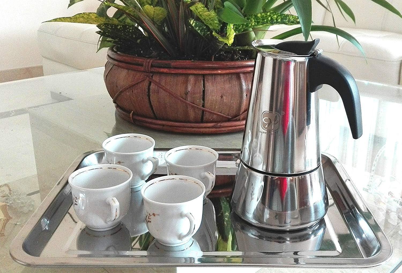 Happy Friends - Cafetera Espresso en Acero Inoxidable - Plata - 10 Tazas: Amazon.es: Hogar