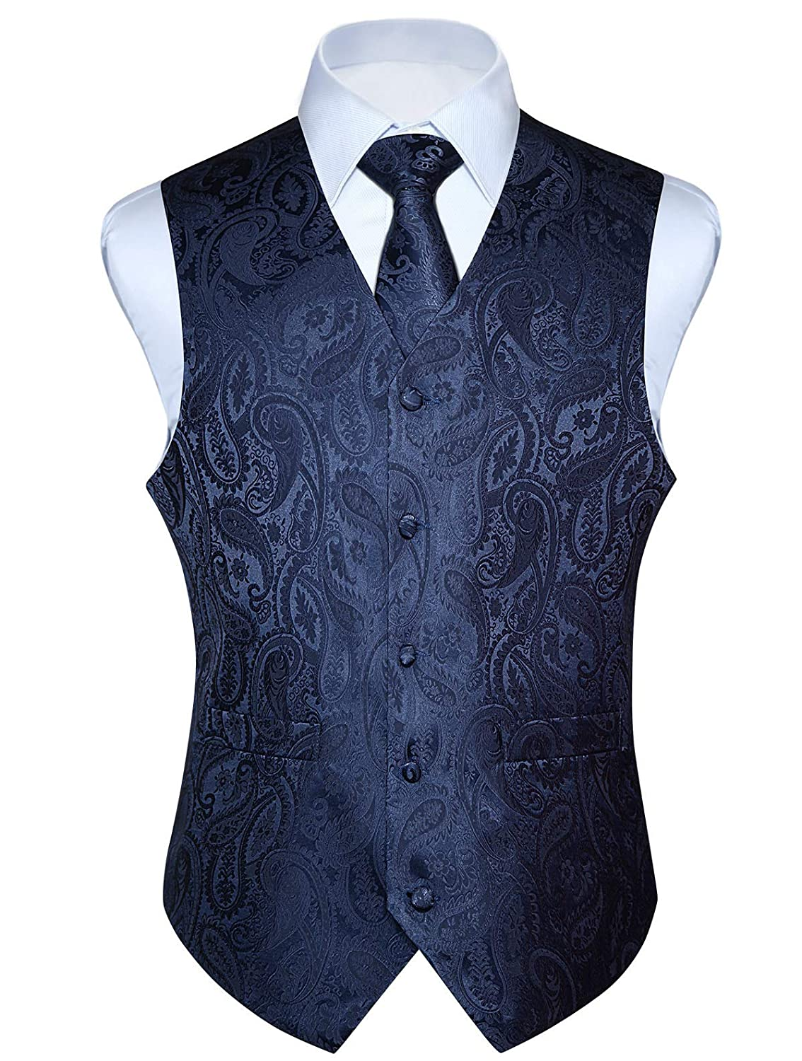HISDERN Mens Paisley Jacquard Solid Waistcoat /& Necktie and Pocket Square Vest Suit Tuxedo Set