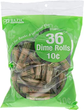 144 Total 4 Pack Bazic Dime Coin Wrappers 36 Per Pack