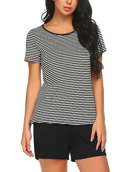 c63e6abe1d MAXMODA Women s Cotton Short Sleeve Shirt and Short Pajama Pants Sleepwear  Set Black S