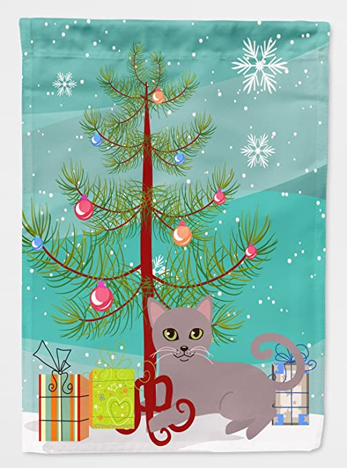 Merry Christmas In Russian.Caroline S Treasures Bb4427chf Canvas House Size Russian Blue Cat Merry Christmas Tree Flag Multicolor Large