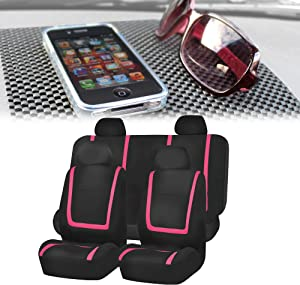 FH-FB032114 Unique Flat Cloth Full Set Car Seat Covers, Pink/Black with FH1002 Non-Slip Black Dash Grip Pad Mat- Fit Most Car, Truck, SUV, or Van