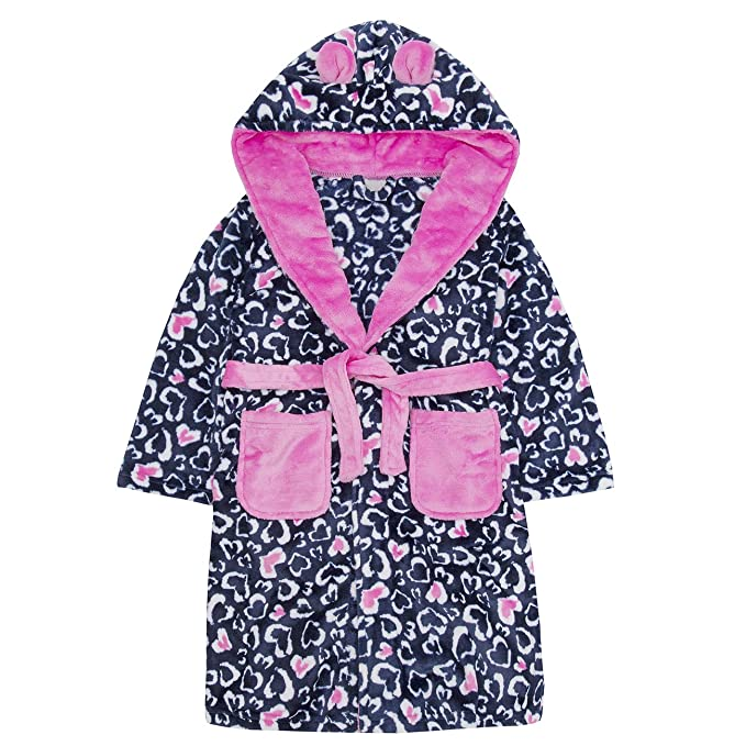 Amazon.com: Childrens Heart Print Soft Fleece Hooded Dressing Gown ...