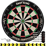 Viper by GLD Products Shot King Regulation Bristle Steel Tip Dartboard Set with Staple-Free Bullseye, Galvanized Metal Radial