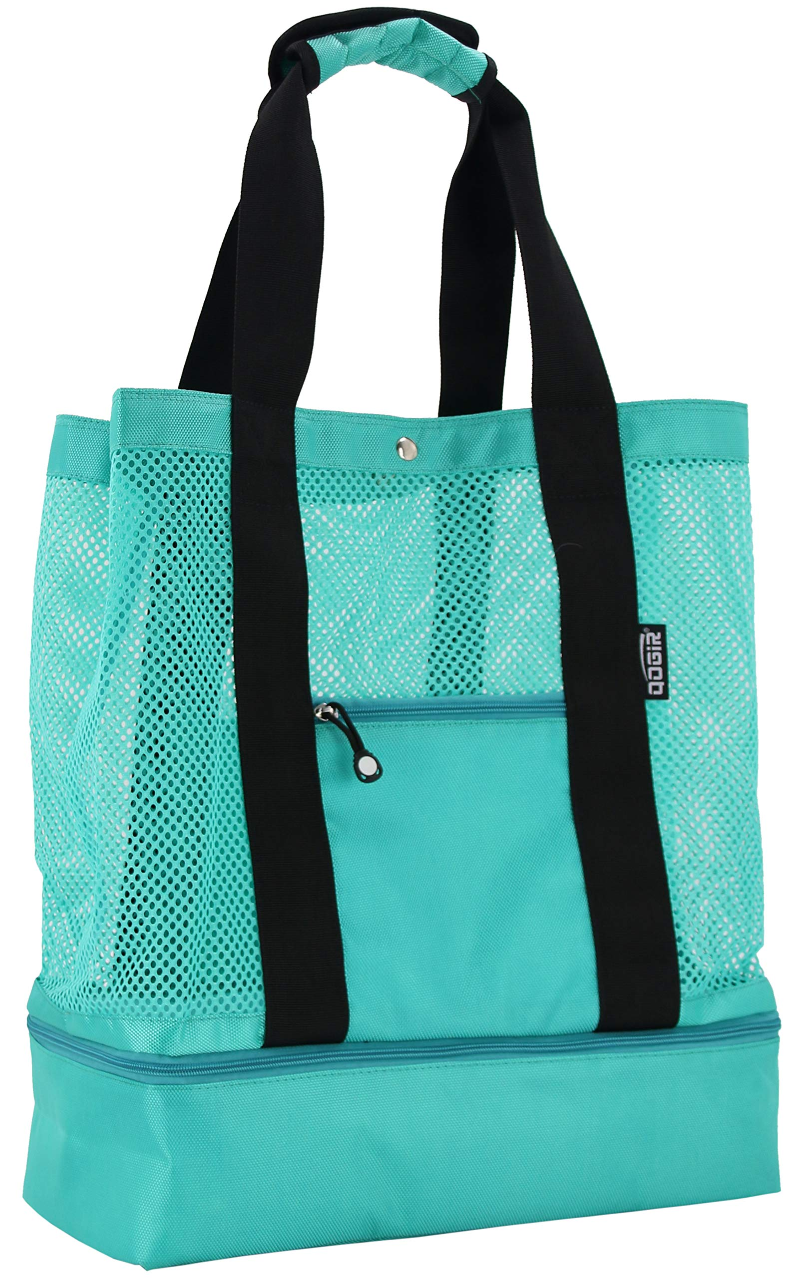 QOGiR Mesh Beach Bag Tote with Insulated Picnic Cooler Bottom - Large, Durable and Light Weight (Green)