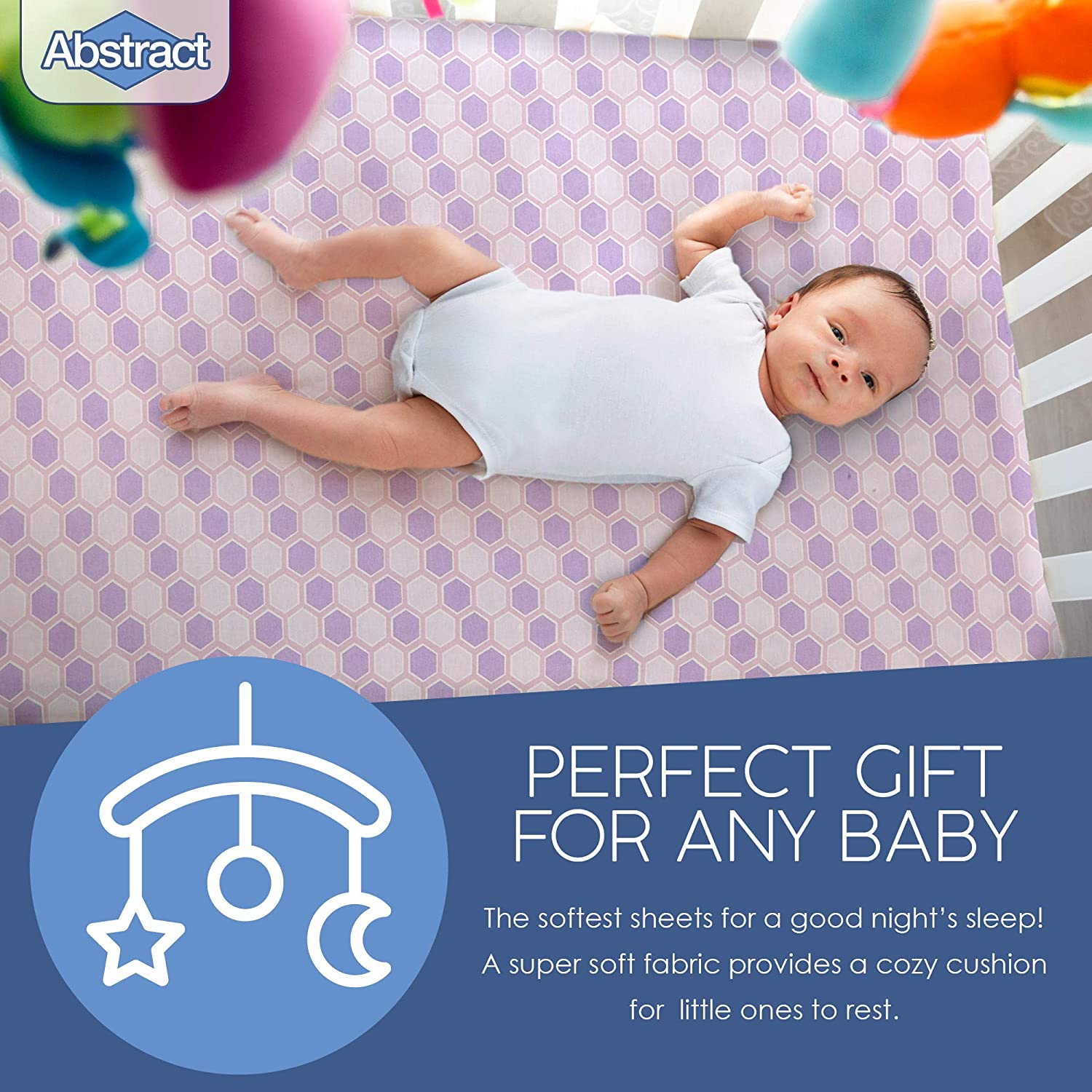 Abstract cradle sheets for Baby Cradle Sheets for Boys and Girls Infant Deep Fitted Soft Jersey 100/% Cotton Knit Cradle Sheets Cradle Sheets Fitted 18 X 36 Zigzag Blue