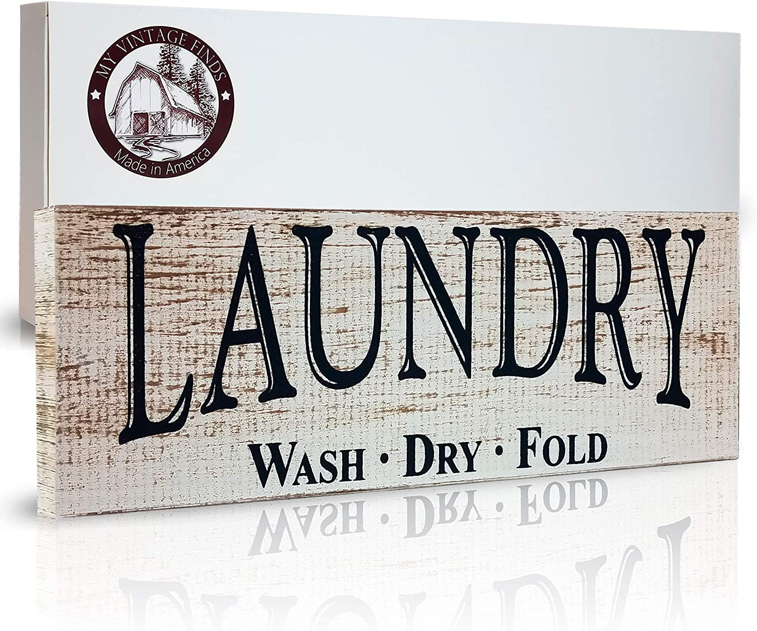 Amazon Com My Vintage Finds Laundry Signs Farmhouse Laundry Room Wall Decor Distressed White Home Kitchen