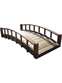 samsgazebos moon bridges japanese style arched wood garden bridges 6 feet brown - Japanese Wooden Garden Bridge