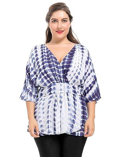 Chicwe Blusas Tallas Grandes Mujeres Camiseta de Tie-Dye Tops de Paseo 0X-4X