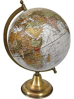 Off white world decorative earth 8 inches diameter antique rotating world desktop globe off white table decor ocean geography earth globe gumiabroncs Choice Image