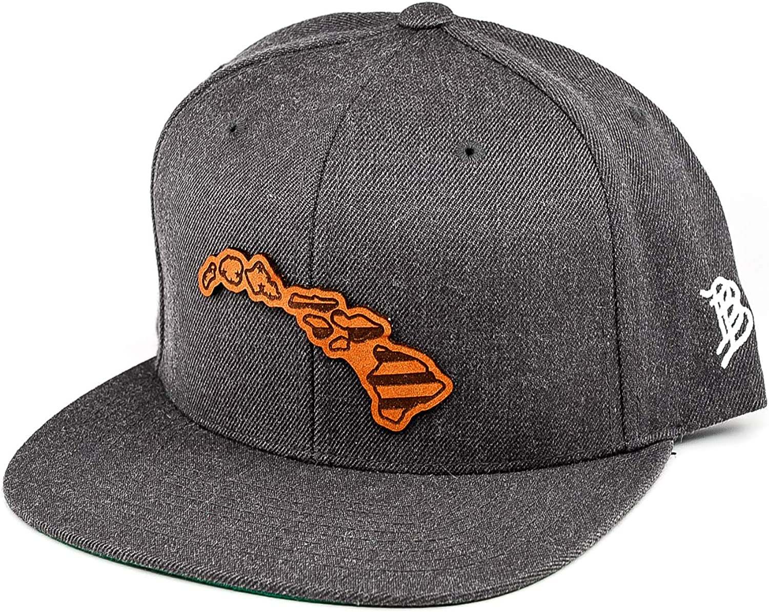 OSFA//Charcoal Branded Bills /'Hawaii Patriot/' Leather Patch Hat Snapback Hat