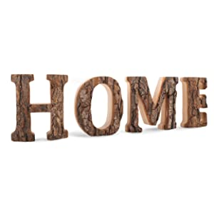 Wooden Home Letters Decor, Decorative Cutout Sign with Rustic Unfinished Bark and Hardwood Sides, Handmade Word Display for Kitchen, Living Room, Made in Germany