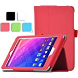 IVSO Acer Iconia ONE B1-770 Case, PU Leather Slim-Book Stand Cover Case-for Acer Iconia ONE B1-770 Tablet (Red)