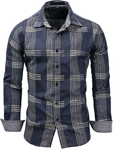 YUNY Mens Plaid Lapel Collar Trim-Fit Casual Long Sleeve Long-Sleeve Shirts Navy Blue L