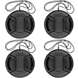Camera 52mm Lens Cap Center Pinch with Lens Cap Leash Hole Bundle for DSLR Cameras Nikon Sony Canon & Other DSLR Cameras UV Lens (52mm)- 4 Pack