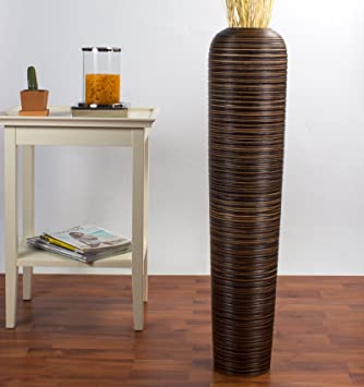 Amazon De Leewadee Grosse Deko Bodenvase Holz 90cm Hoch Braun