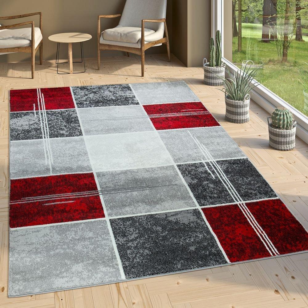 Paco Home Designer Teppich Kariert Kurzflor Marmor Optik Meliert Modern Grau Schwarz Rot, Grösse 240x340 cm
