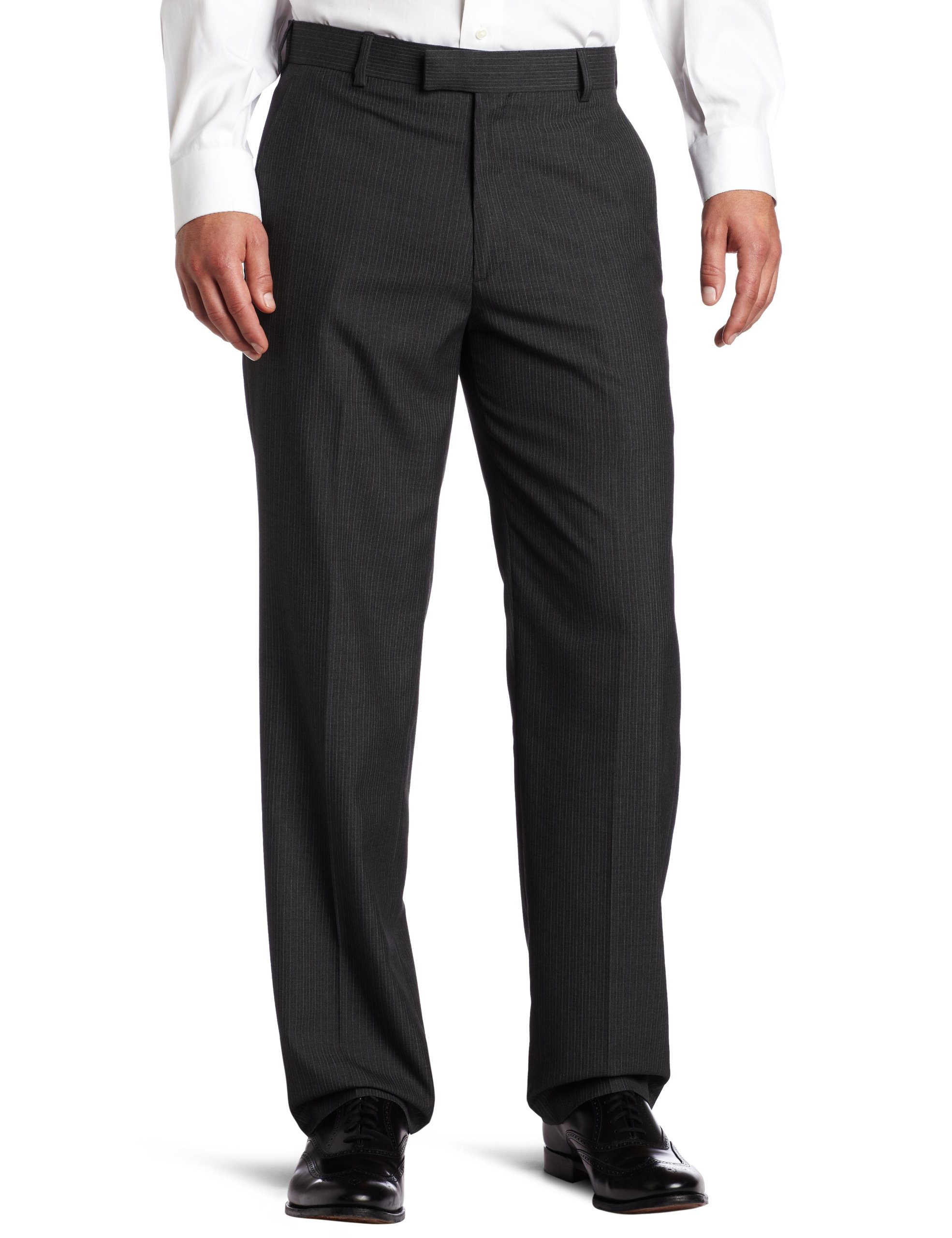 Haggar Men's Textured Pinstripe Tailored Fit Plain Front Suit Separate Pant, Charcoal Heather, 36/34 by Haggar