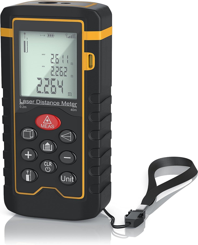 Brandson - Medidor de distancias láser digital - Medidor de distancias láser - Medición de distancias, superficies, volúmenes - Hasta 40 m - Precisión de medición más menos 1 mm - Categoría láser II
