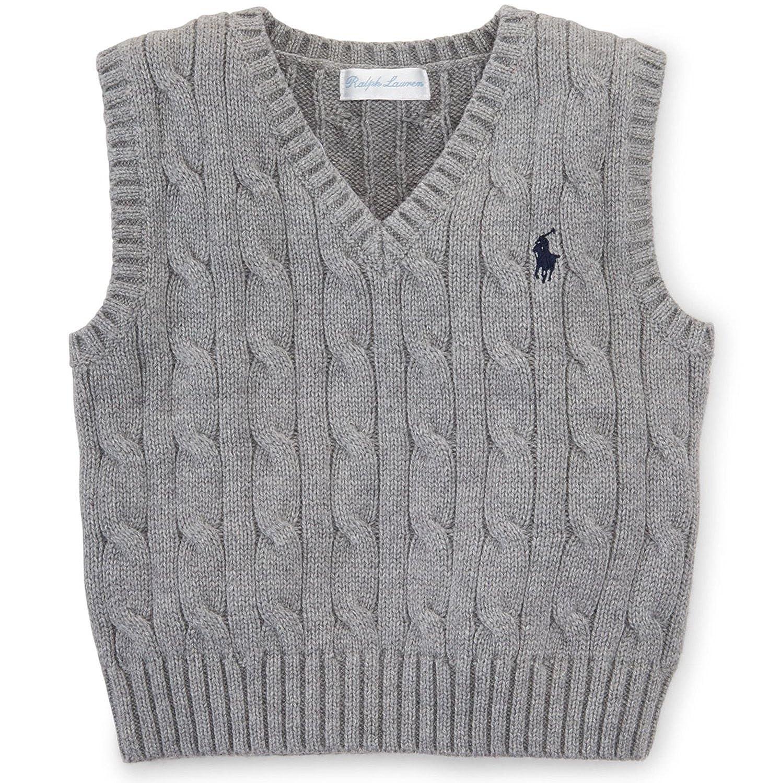 Ralph Lauren Baby Boys' Cable-Knit Cotton Sweater Vest Boulder Grey Heather)